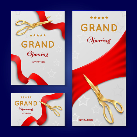 Illustration pour Ribbon cutting with scissors grand opening ceremony vector invitation cards. Invintation banner to opening event illustration - image libre de droit