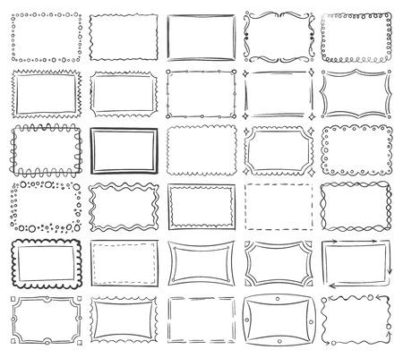 Illustration pour Simple doodle, sketch square vector frames. Abstract frame sketch of set illustration - image libre de droit