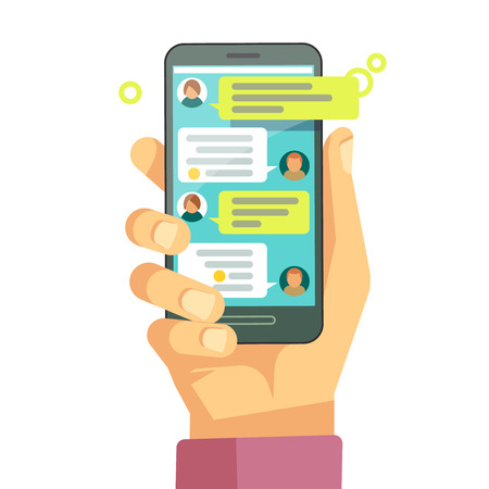 Illustration pour Chatting with chatbot on phone, online conversation with texting message vector concept. Messaging using phone, illustration of screen with messaging - image libre de droit