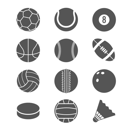 Sports balls football basketball and tennis vector icons. Illustration of balls for bowling and volleyball
