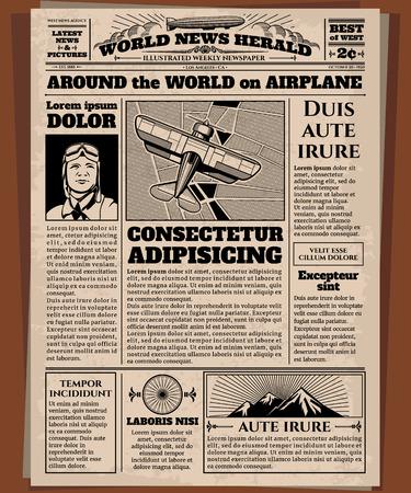 Old newspaper, vintage newsprint vector template. Retro newspaper with world news, illustration of page newsprint