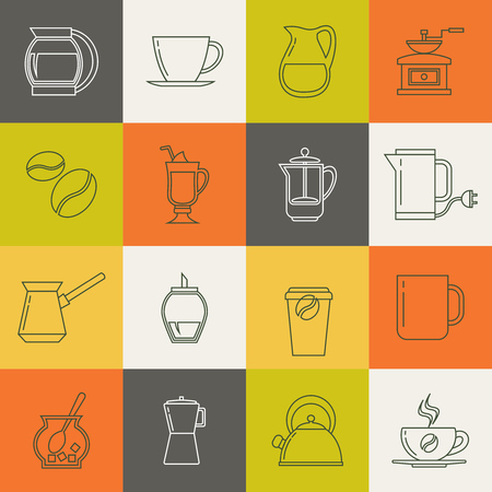 Multicolor coffee thin line vector icons set. Collection of line design tea and coffee signs illustration