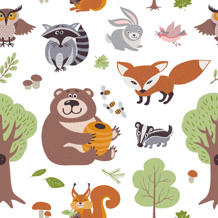 Ilustración de Forest summer plants and woodland animals vector seamless pattern. Forest animals backdrop, illustration of animal on background raccoon and hare - Imagen libre de derechos