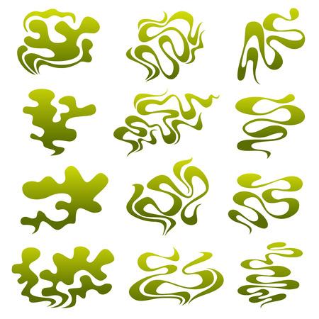 Cartoon stinky smell bubbles, water vapor and stench aroma streams vector set. Aroma smoke stream, odour toxic green illustration