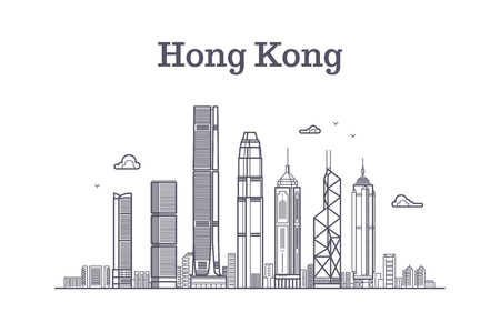 Illustration pour China hong kong city skyline. Architecture landmarks and buildings vector line panorama. Cityscape panorama with skyscraper building illustration - image libre de droit