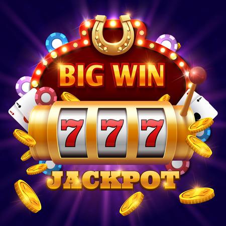 Ilustración de Big win 777 lottery vector casino concept with slot machine. Win jackpot in game slot machine illustration - Imagen libre de derechos
