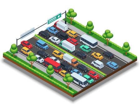 Ilustración de Isometric highway with traffic jam. 3d transportation vector concept with cars and trucks. - Imagen libre de derechos