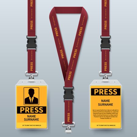 Illustration pour Business press pass id card lanyard badges realistic vector mock up isolated. Holder and lanyard, identity card for security to conference illustration - image libre de droit