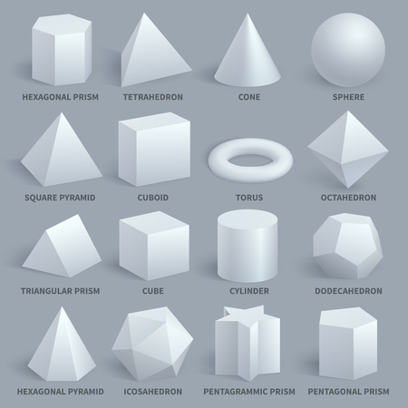 Photo pour Realistic white basic 3d shapes vector set. Geometry form for education illustration. Hexagonal and prism, tetrahedron and cone, sphere and pyramid - image libre de droit