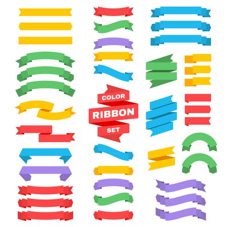 Ilustración de Retro text ribbon banners in flat style. Vector colored ribbon banner label illustration - Imagen libre de derechos