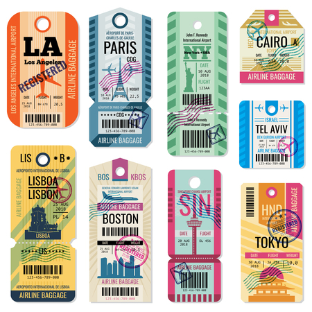 Ilustración de Retro travel luggage labels and baggage tickets with flight symbol vector collection. Luggage label tag registered illustration - Imagen libre de derechos