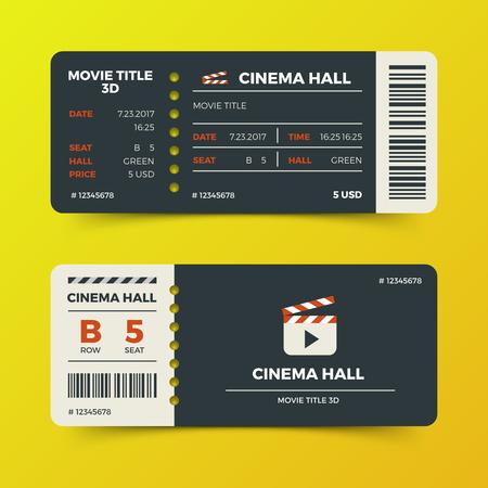 Illustration for Modern cinema movie tickets vector design. Ticket to cinema hall 3d film illustration - Royalty Free Image
