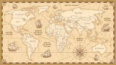 Illustration pour Vector antique world map with countries boundaries. Antique world vintage map, grunge america and europe illustration - image libre de droit