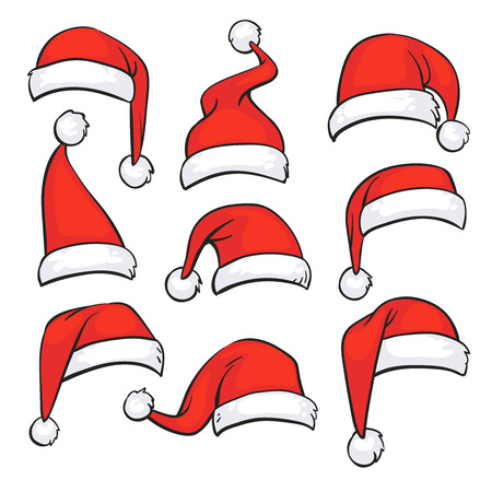 Illustration pour Santa red hats with white fur. Isolated Christmas holiday vector decoration. Christmas hat santa claus illustration - image libre de droit