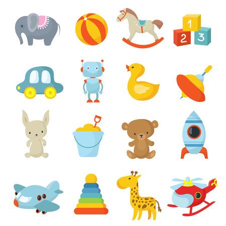 Ilustración de Cartoon style, children's toys vector icons collection - Imagen libre de derechos