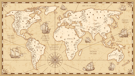 Illustration pour Vintage physical world map with rivers and mountains vector illustration. Retro vintage old world map with antique travel ship - image libre de droit