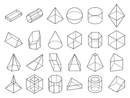 Illustration pour Abstract isometric 3d geometric outline shapes vector set. 3d isometric geometric shape cube and sphere illustration - image libre de droit