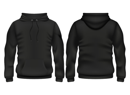 Ilustración de Front and back black hoodie vector template for sport and urban style illustration - Imagen libre de derechos