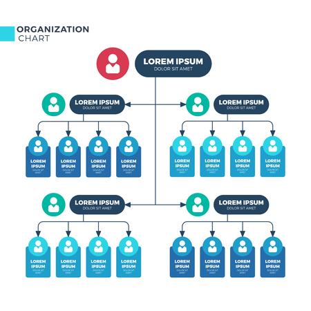Ilustración de Business structure of organization. Vector organizational structural hierarchy chart with employees icons - Imagen libre de derechos
