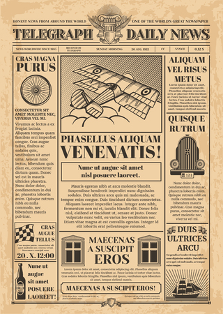Illustration pour Old newspaper vector template. Retro newsprint with text and images - image libre de droit
