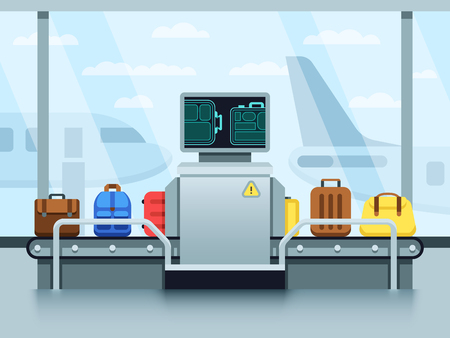 Ilustración de Airport conveyor belt with passenger luggage and police scanner. Terminal checkpoint vector concept - Imagen libre de derechos