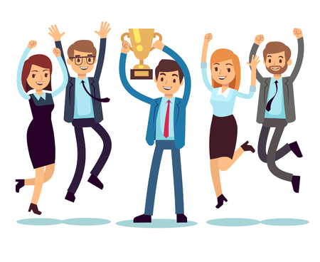 Ilustración de Manager with winning trophy cup and jumping employees. Success business team vector flat concept - Imagen libre de derechos