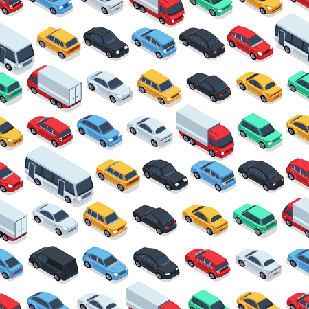Ilustración de Urban cars seamless texture. Vector background. Isometric cars - Imagen libre de derechos