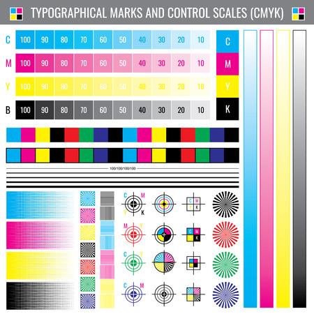 Illustration pour Calibration printing crop marks. CMYK color test vector document - image libre de droit