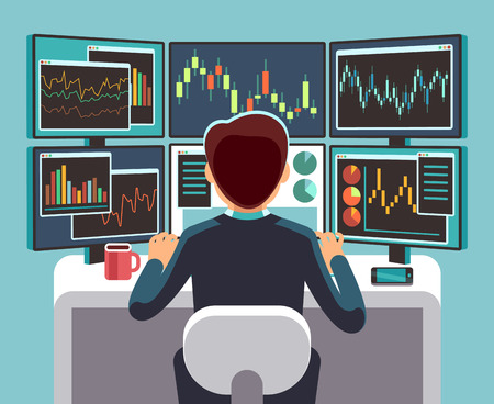 Illustration pour Stock market trader looking at multiple computer screens with financial and market charts. Business analysis vector concept. - image libre de droit