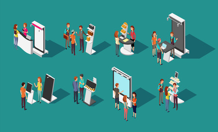 Illustration pour People standing at expo promotional stands vector 3d isometric set - image libre de droit