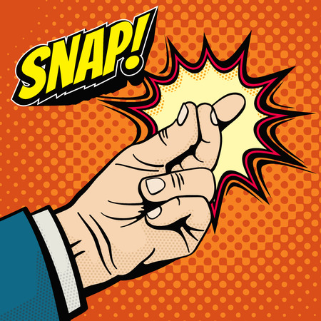 Illustration pour Male hand with snapping finger magic gesture. Its easy vector concept in pop art style. Finger snap gesture, snapping click gesturing expression, vector illustration - image libre de droit