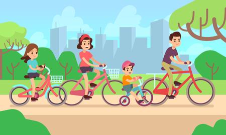 Illustration pour Happy children and parents riding bikes. Active family vector concept - image libre de droit