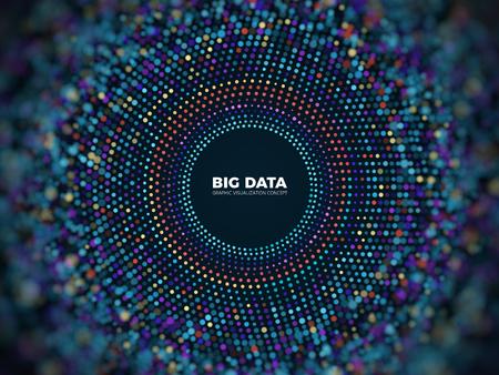 Illustration pour Big data information vector concept. Abstract futuristic background with 3d visualization. - image libre de droit