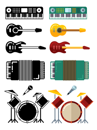 Music instruments, flat silhouettes icons isolated on white background