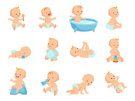 Illustration pour Infant newborn baby big set in different activity isolated on white - image libre de droit