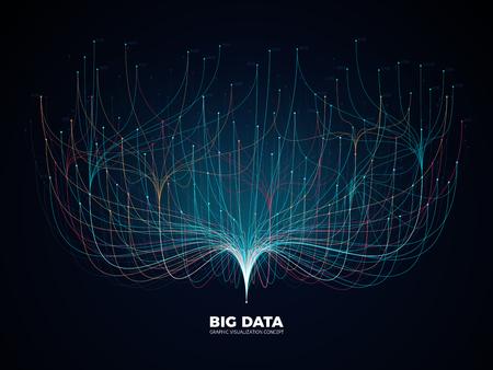 Illustration pour Big data network visualization concept. Digital music industry, abstract science vector background - image libre de droit