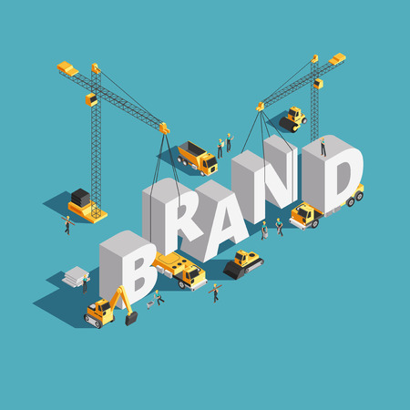 Ilustración de Brand building construction 3d isometric vector concept with construction machinery and workers - Imagen libre de derechos