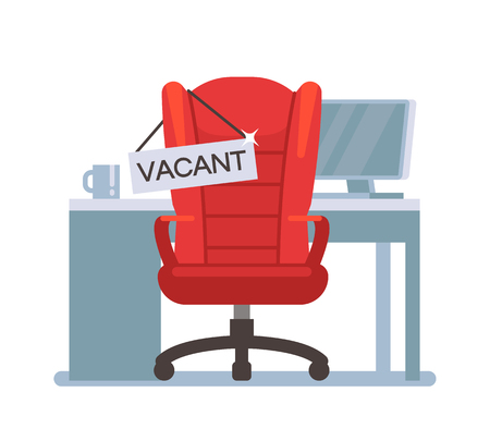 Empty office chair with vacant sign. Employment, vacancy and hiring job vector concept