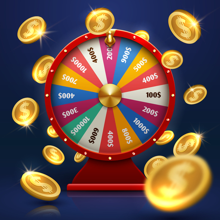 Illustration pour Fortune wheel and gold coins. Lucky chance in game vector background - image libre de droit