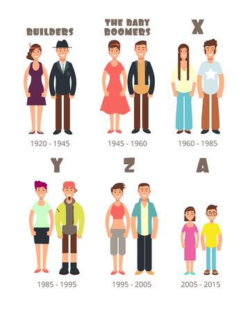 Illustration pour Baby boomer, x generation vector people icons - image libre de droit