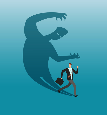 Scared businessman running away in panic from own shadow. Anxiety and conflict vector business concept