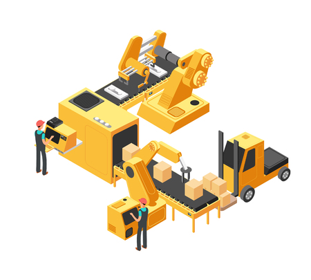 Illustration for Industrial manufacturing conveyor line with packaging equipment and factory workers. 3d isometric vector illustration. Equipment conveyor production, factory manufacturing, machine process industry - Royalty Free Image