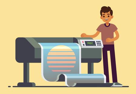 Man worker at plotter printing wide format large banner vector illustration