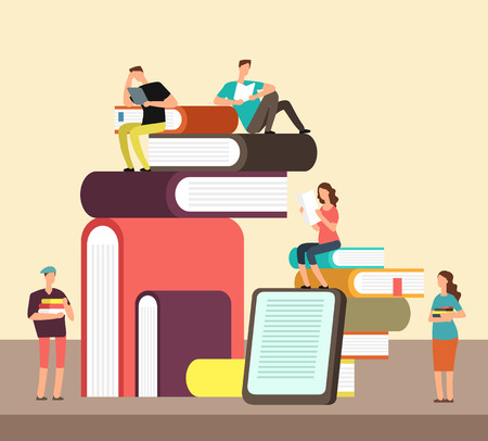 Illustration pour Man and woman reading books. People and book creative idea cartoon flat concept. Book festival vector poster - image libre de droit