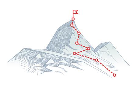 Illustration pour Mountain climbing route to peak. Business journey path in progress to success vector concept - image libre de droit