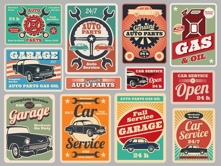 Illustration for Set of vintage road vehicle signs. - Royalty Free Image