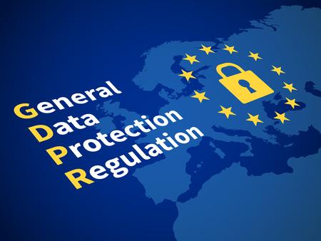 Illustration pour Gdpr general data protection regulation. Eu computer safeguard regulations and data encryption vector concept - image libre de droit