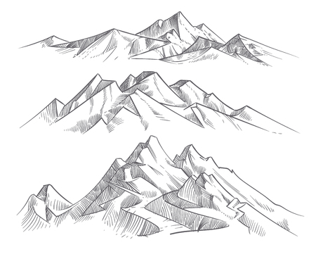 Illustration pour Hand drawing mountain ranges in engraving style. Vintage mountains panorama vector nature landscape. Peak outdoor sketch, landscape mountain range illustration - image libre de droit