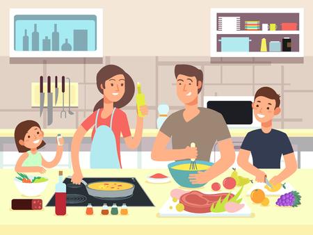 Ilustración de Happy family cooking. Mother and father with kids cook dishes in kitchen cartoon vector illustration - Imagen libre de derechos