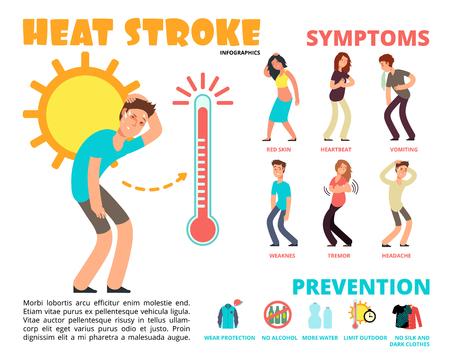 Illustration for Heat stroke risk symptom and prevention template design - Royalty Free Image